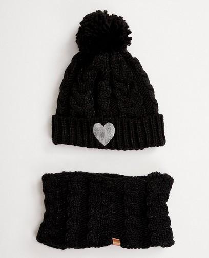 Bonnet + col châle noirs