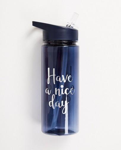 Blauwe drinkfles met opschrift