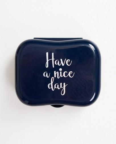 Blauwe koekendoos met print