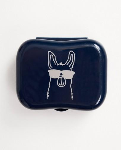 Blauw koekendoosje met print