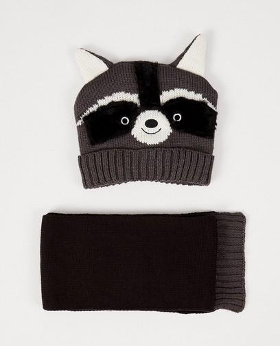 Set aus Mütze + Schal - Waschbär