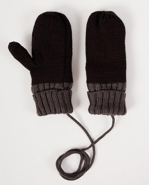 Moufles noires à bord gris - et cordon de lien - JBC