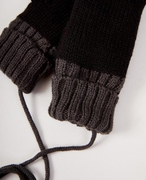 Bonneterie - black - Moufles noires à bord gris