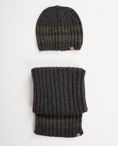 Bonnet + écharpe à relief côtelé - gris et vert - JBC