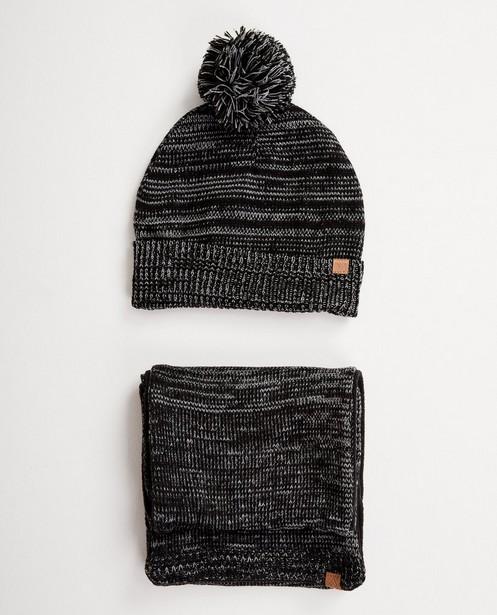 Ensemble: bonnet + écharpe noirs - avec du fleece - JBC