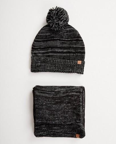 Set: Mütze + Schal in Schwarz