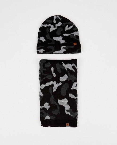 Écharpe et bonnet noirs - imprimé camouflage - JBC