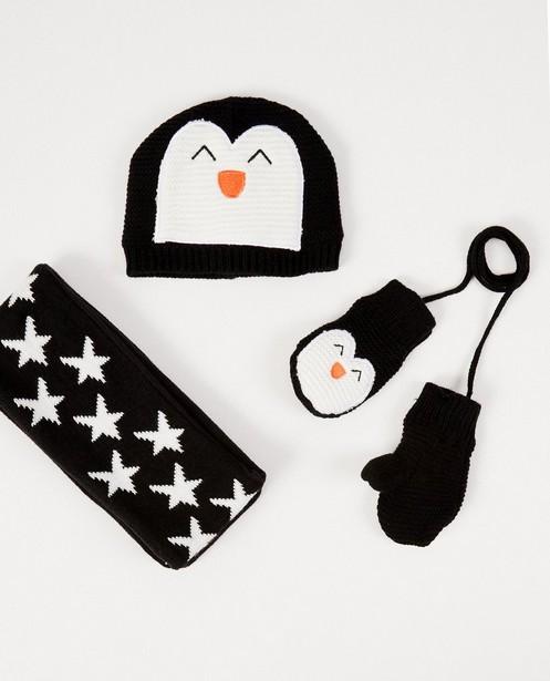 Bonnet, écharpe et moufles - avec des pingouins - JBC