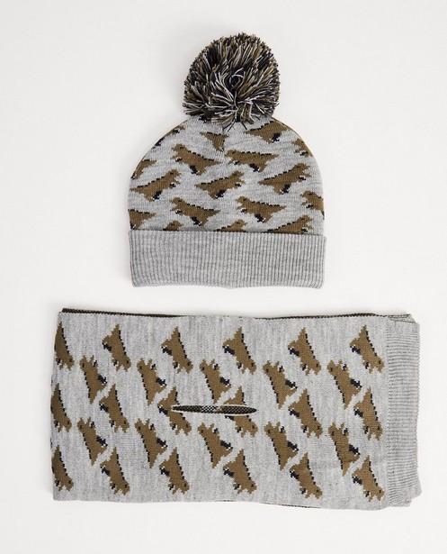 Écharpe et bonnet gris - imprimé de dinos - JBC