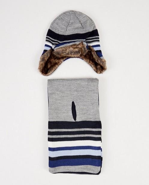 Bonnet et écharpe gris - rayés - JBC
