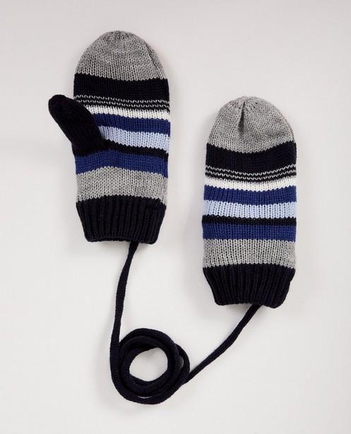Moufles bleues à rayures - et cordon de lien - JBC