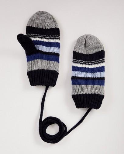 Blauwe wanten met strepen