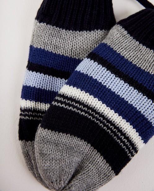 Bonneterie - Moufles bleues à rayures