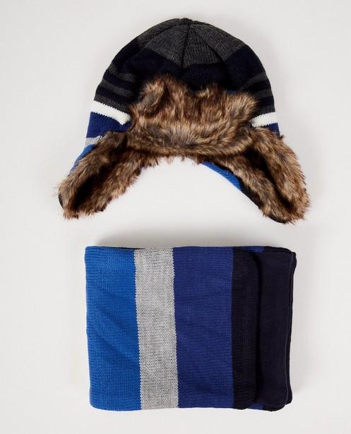 Set: Mütze und Schal mit Streifen - in Blau und Grau - JBC