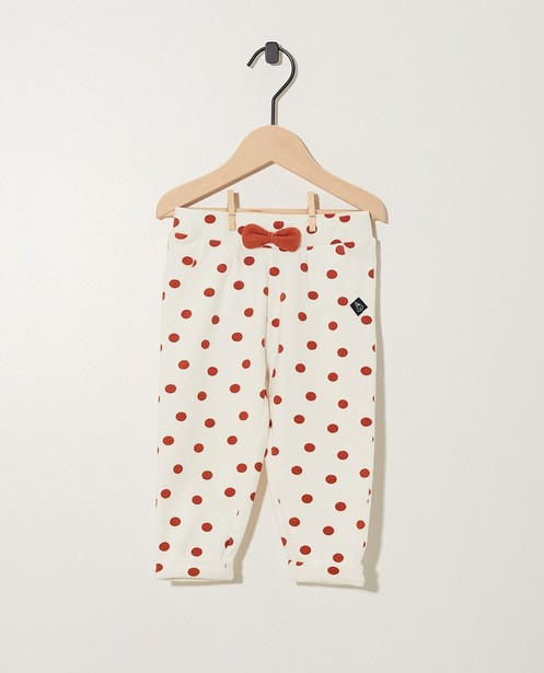 Pantalon blanc Bumba, coton bio - à pois - Bumba