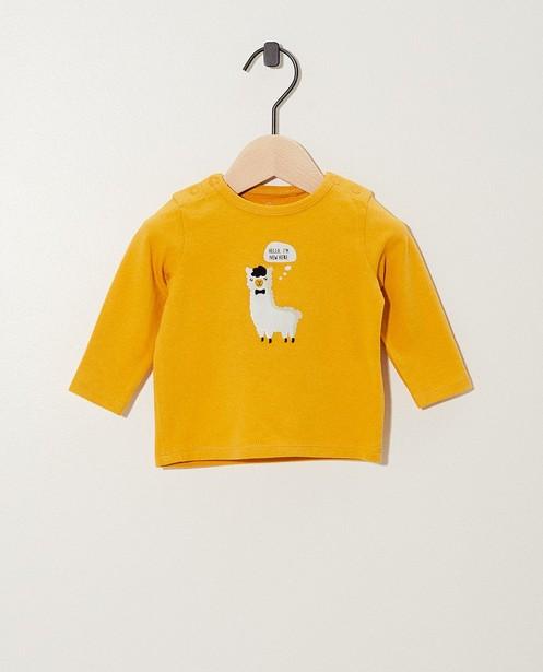 T-shirt jaune à manches longues - coton bio, imprimé - Newborn