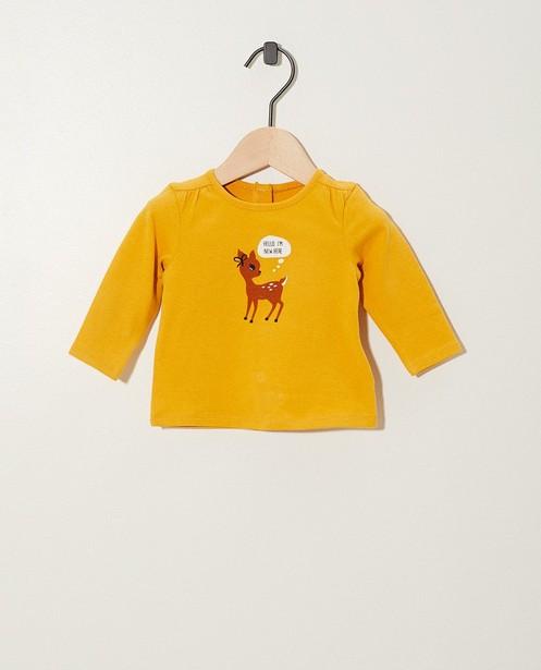 T-shirt jaune à manches longues - nœud papillon en velours - Newborn
