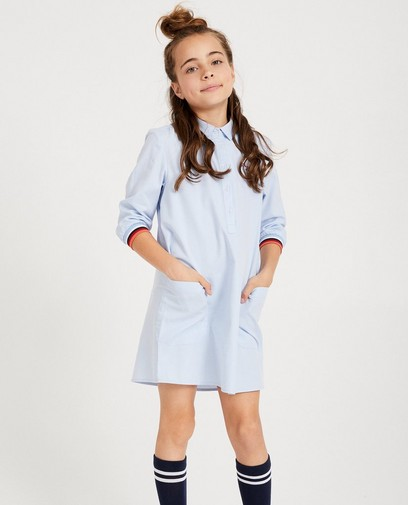Robe-chemisier bleu clair, poches