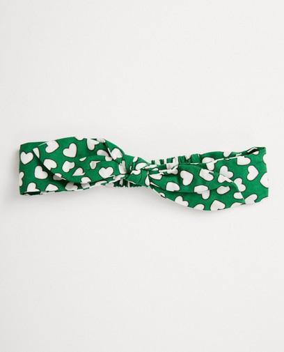 Groen haarbandje met hartjesprint