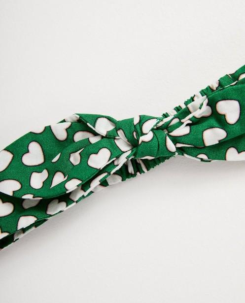 Bonneterie - Bandeau vert, imprimé de cœurs