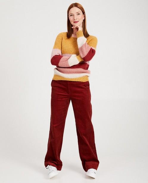 Broek in ribfluweel Karen Damen - in donkerrood - Karen Damen