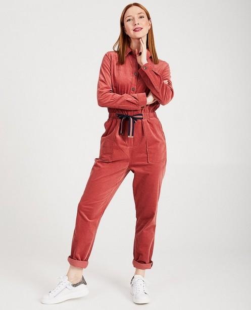 Donkerroze jumpsuit Karen Damen - in ribfluweel - Karen Damen