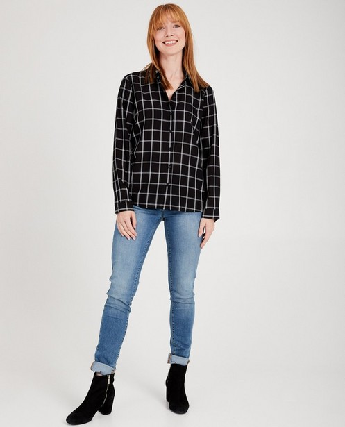 Chemise noire à carreaux blancs - 100% viscose - JBC