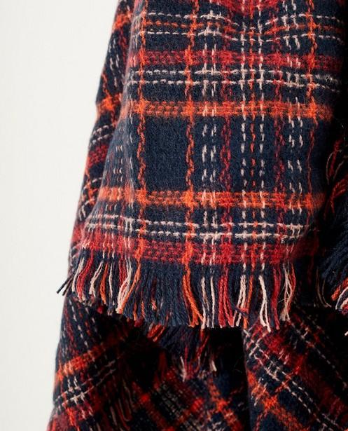 Bonneterie - Écharpe bleue à carreaux rouges