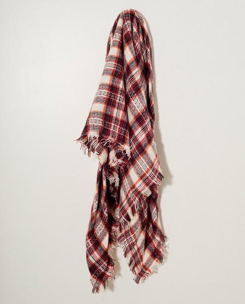 Witte sjaal met rood ruitpatroon - Allover - JBC NL