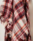 Breigoed - Witte sjaal met rood ruitpatroon