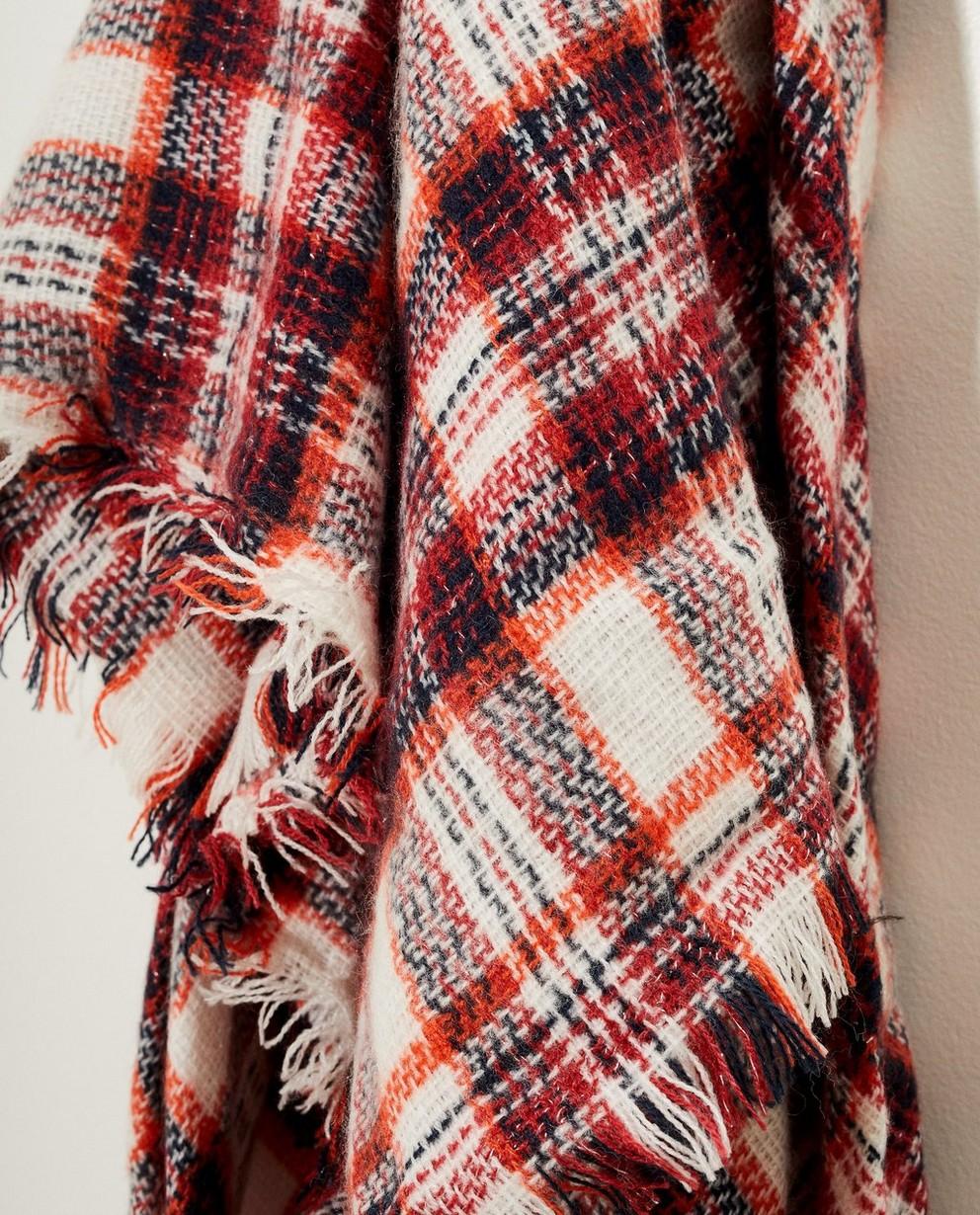 Strickware - Weiss - Weißer Schal mit rotem Karomuster