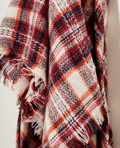 Breigoed - WTM - Witte sjaal met rood ruitpatroon
