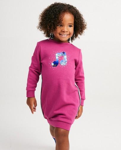 Fuchsia sweaterjurk met print K3