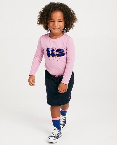 T-shirt rose à manches longues K3 - grandes paillettes - K3