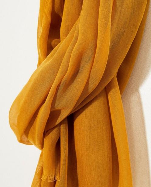 Bonneterie - honey - Écharpe jaune avec effilochures