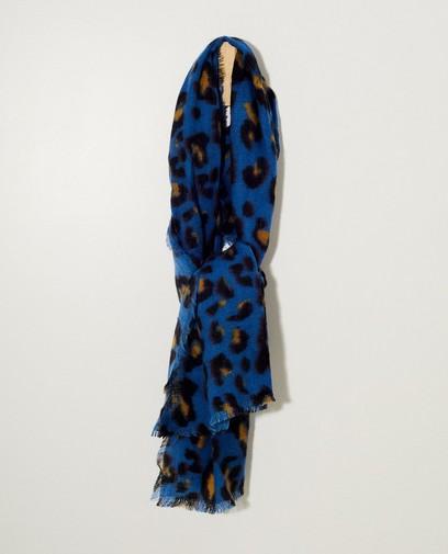 Kobaltblauwe sjaal met print
