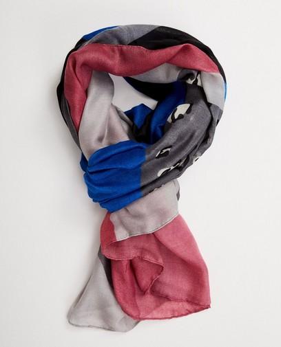 Grijze sjaal met color block