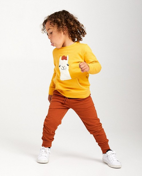 Gele sweater met lama - met fleece - JBC