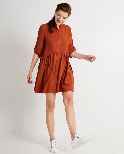 Terracotta-kleurige jurk - effen kleur - JBC