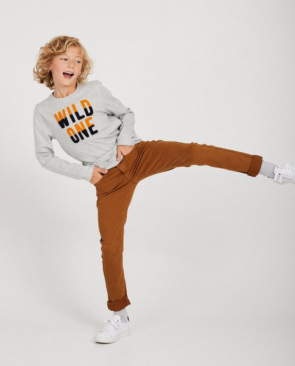 T-shirt gris à manches longues - inscription «wild one» - JBC