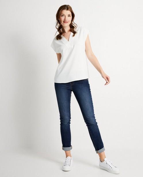 Wit shirt met V-hals - van polyester - JBC
