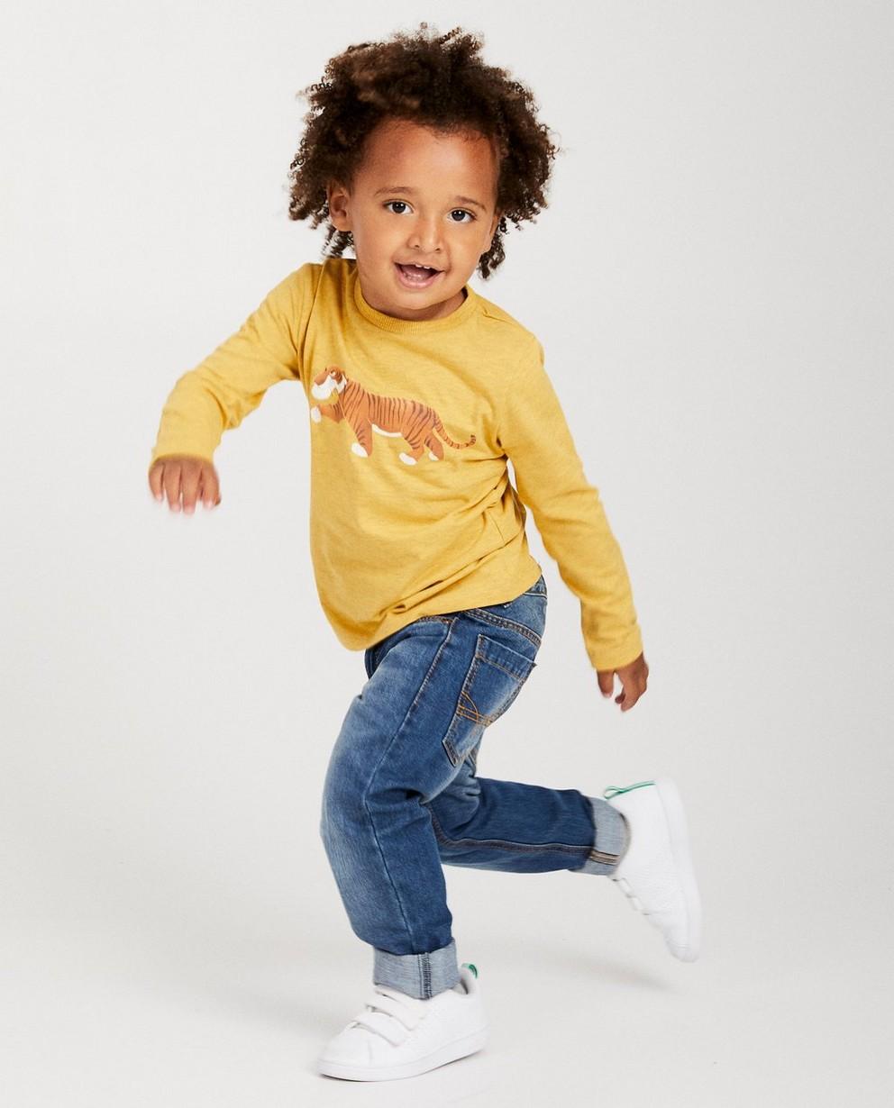 T-shirt jaune à manches longues - imprimé Disney chiné - Mickey