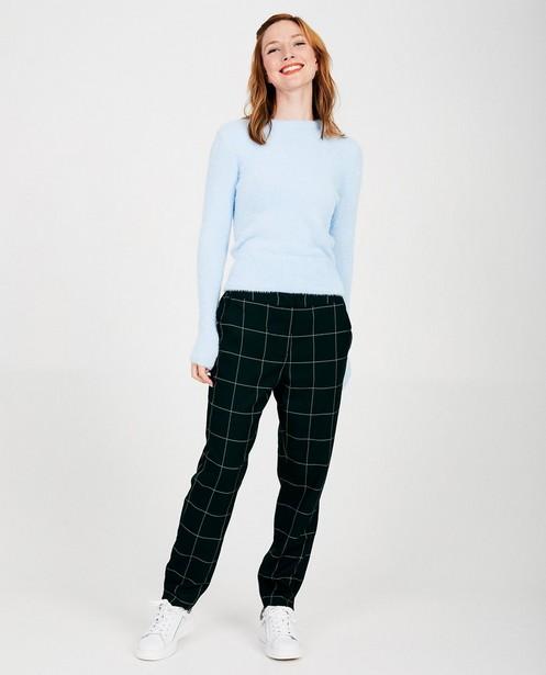Pantalon noir à carreaux Sora - pantalon palazzo - Sora