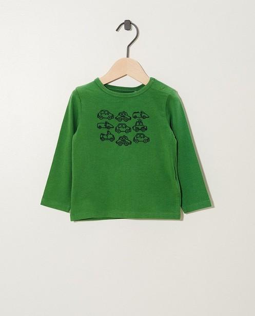 T-shirt vert en coton bio - manches longues, imprimé - JBC