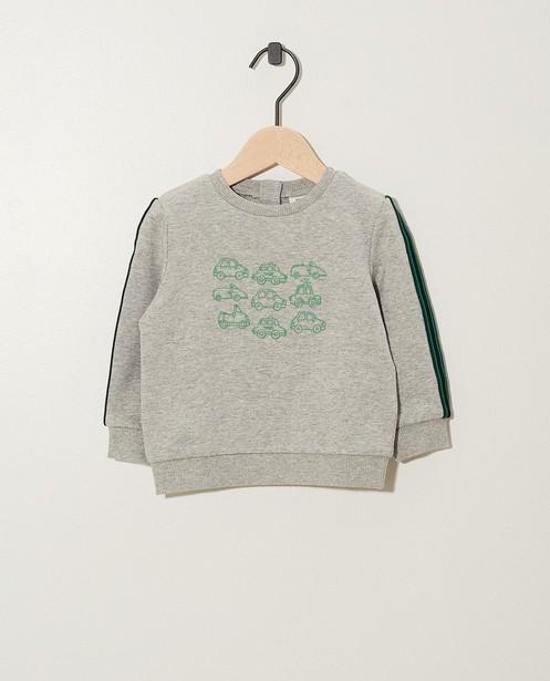 Grijze sweater met print - gemêleerd - JBC