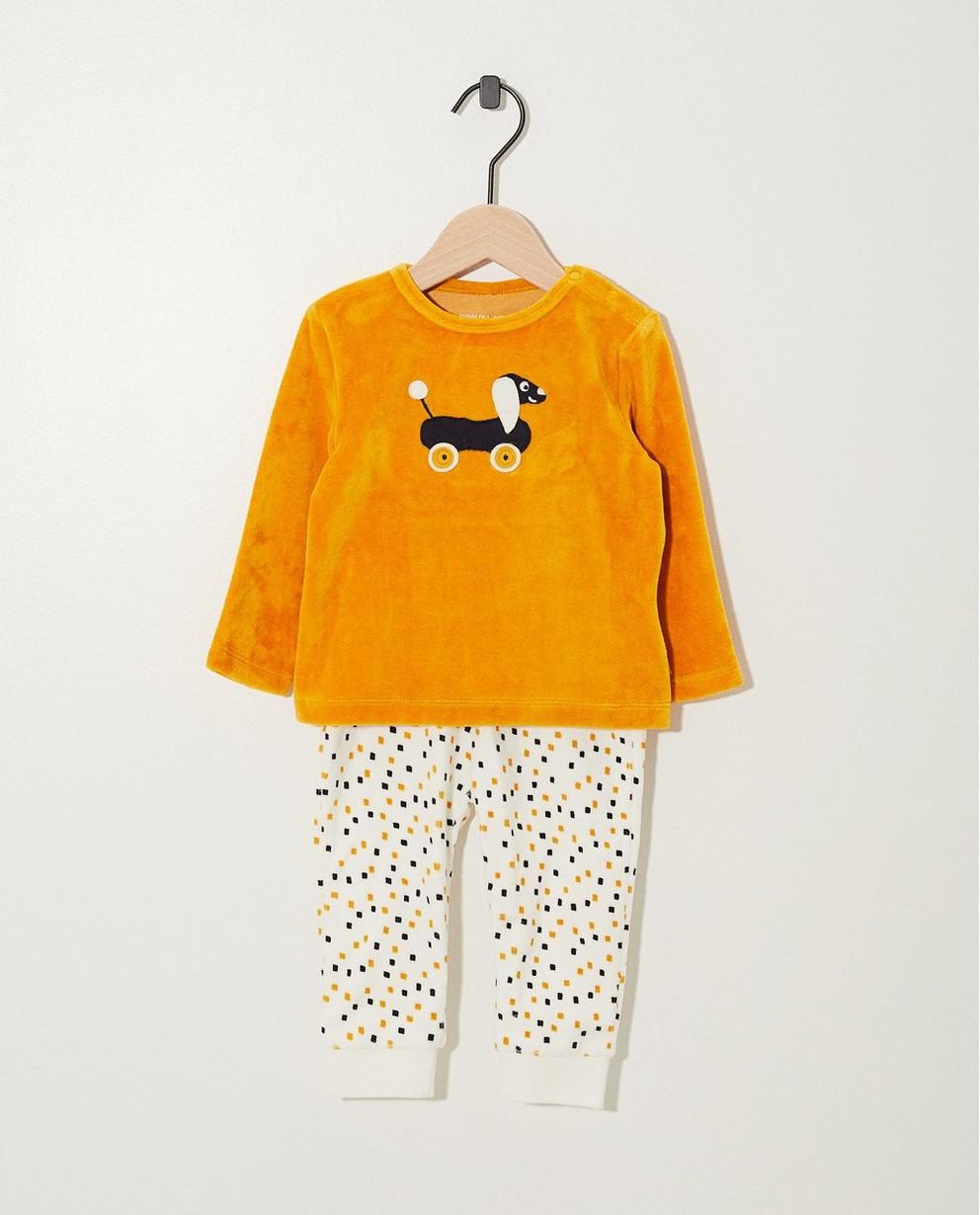 Pyjama jaune avec un chien - top + pantalon - cudd