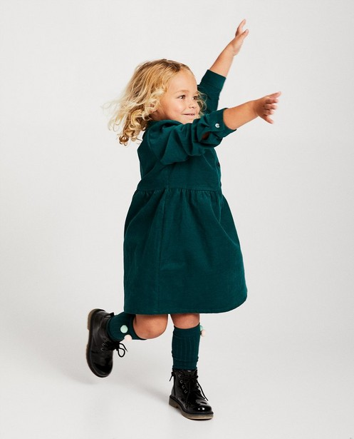 Smaragdgroene jurk van ribfluweel - allover - JBC