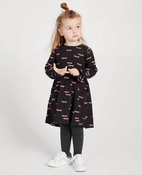 Grijze jurk met print van hondjes - allover - Milla Star