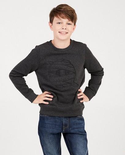 Donkergrijze sweater met print
