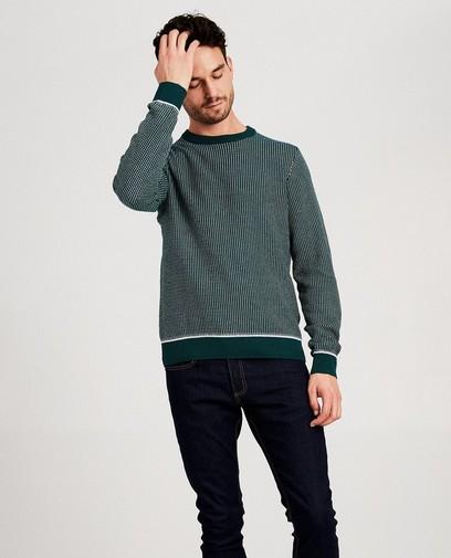 Groene trui met wit patroon
